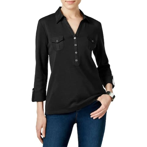 Karen Scott Womens Petites Casual Top Cuff Sleeves Collared