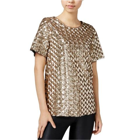 Bar Iii Womens Sequined Embellished T-Shirt