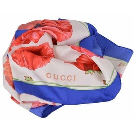 New Gucci Women's 303940 Red Blue Poppy Floral Silk Twill Neck Scarf