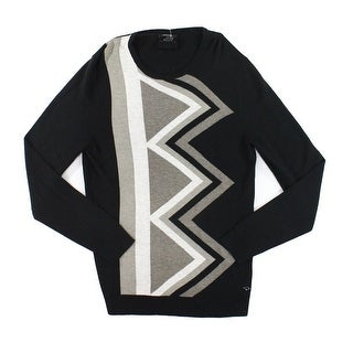 Alfani NEW Black Gray Mens Size Small S Knit Crewneck Ribbed Sweater