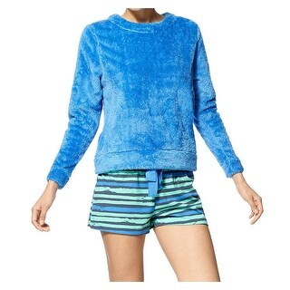 HUE NEW Blue Womens Size Small S Fuzzy Sweater Striped Short Pajama Sets