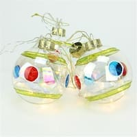 Battery Operated Stripe And Dot Glass Ball LED Lighted Christmas