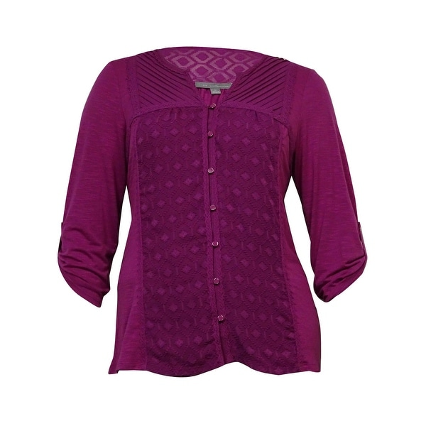 NY Collection Women's Pintucked Lace-Trim Knit Top