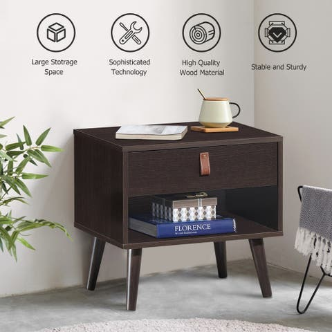 Retro Wood Nightstand with Storage Drawer End Table Bedside Table