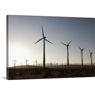 Premium Thick-Wrap Canvas entitled Wind turbines in a desert landscape