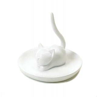 Charming Cat Ring Holder - White