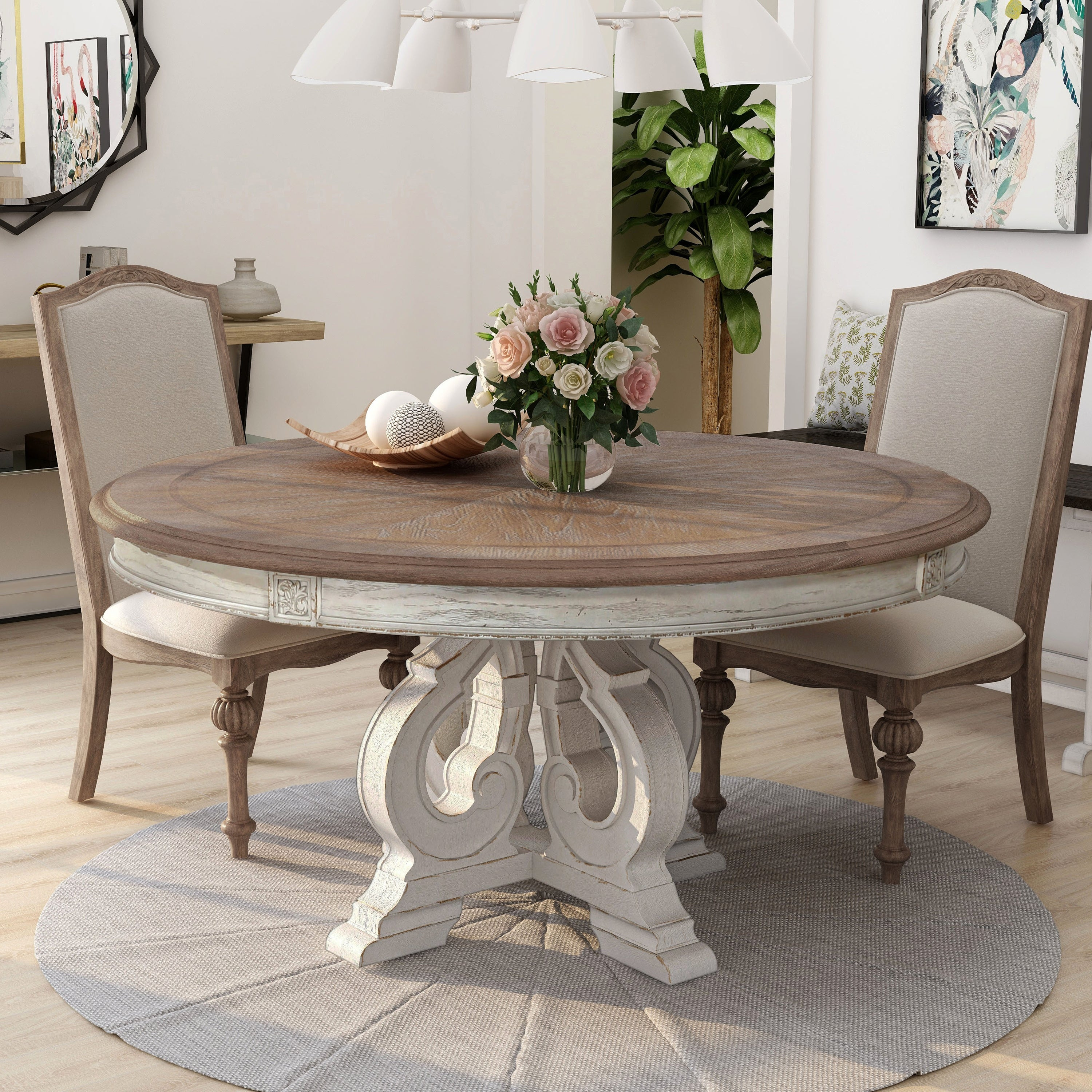 The Gray Barn Caelum 60 Inch Antique White Round Dining Table On Sale Overstock 28978096