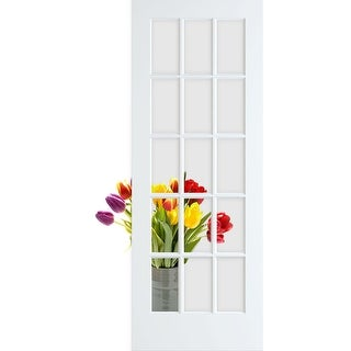 """Frameport CGL-PD-15L-6-2/3X2-1/2  Clear Glass 30"""" by 80"""" 15 Lite Interior Slab French Door"""