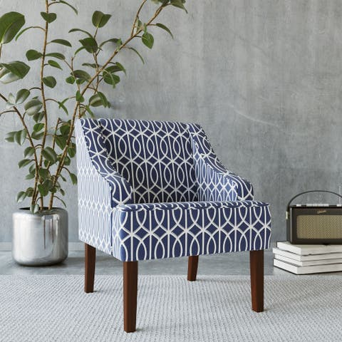Porch & Den Cammy Blue Trellis Swoop Accent Chair