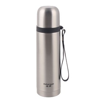 Cylinder Water Bottle Pot Kettle Vacuum Cup Mug SIlver Tone 500ml Capacity