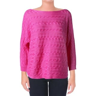 Lauren Ralph Lauren Womens Pullover Sweater Cable Knit 3/4 Sleeves