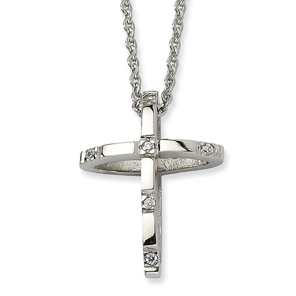 Chisel Stainless Steel CZ Cross Pendant 22 Inch Necklace (2 mm) - 22 in