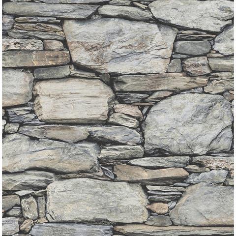 Cobble Light Grey Stone Wall Wallpaper - 20.5in x 396in x 0.025in