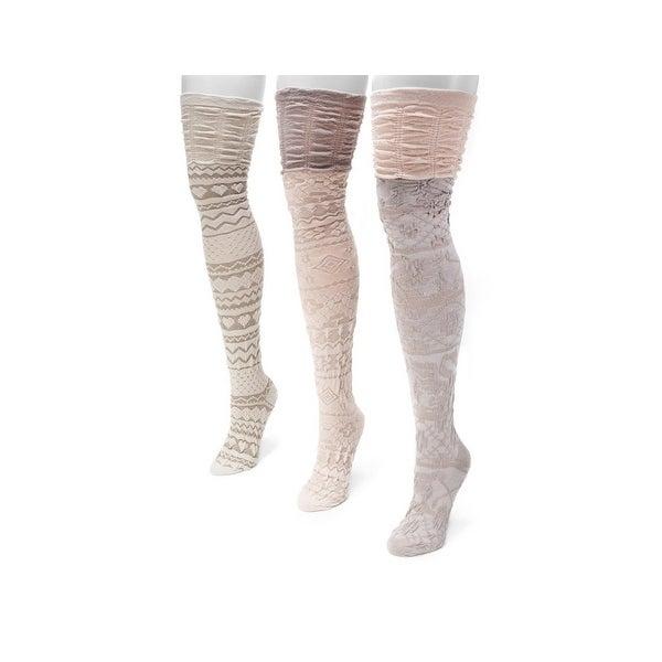 Muk Luks Socks Womens Over Knee Microfiber 3 Pack O/S Neutral 00 - One size
