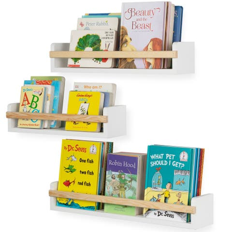 Wallniture Utah Wood Wall Shelves Kids Bookshelf Set of 3 Toy Storage - White
