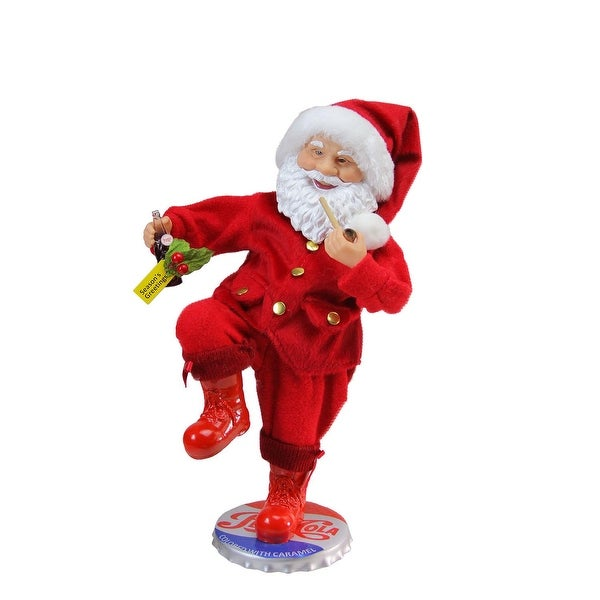 "12"" Santa Claus Standing on Vintage Style Pepsi-Cola Bottle Cap Christmas Figure - RED"
