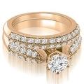 2.20 cttw. 14K Rose Gold Antique Cathedral Round Cut Diamond Bridal Set - Thumbnail 0