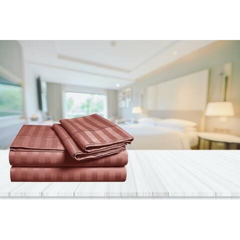 Luxury Egyptian Cotton Damask Stripe 1,000 TC Bedsheet Set