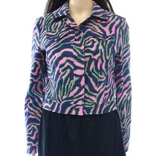 Anne Klein NEW Blue Women's Size 14 Button-Front Printed Jacket
