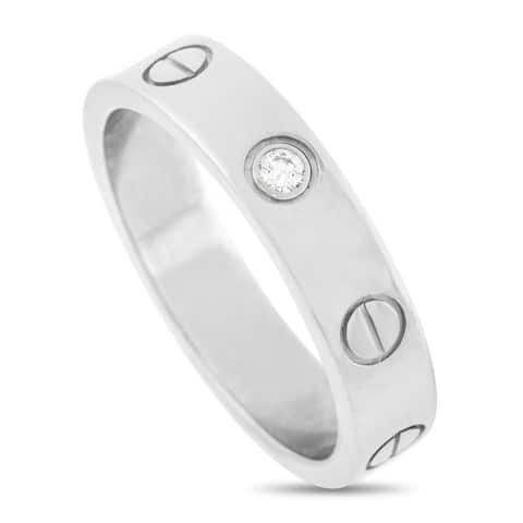 Cartier LOVE White Gold Solitaire Diamond Band Ring Size 5