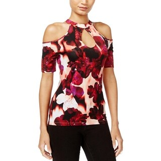 Guess Womens Janell Choker Top Cold-Shoulder Keyhole