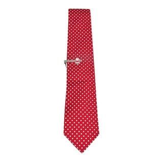 John Ashford Men's Polka Dot Polysatin Tie w/Santa Tie Clip (OS, Red)