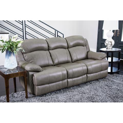 Abbyson Clarence Grey Top Grain Leather Reclining Sofa
