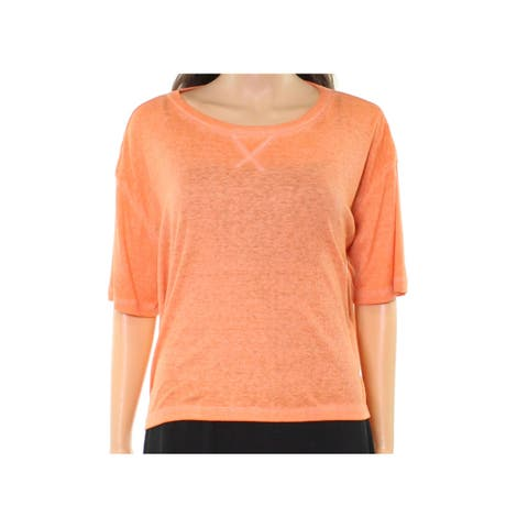 Abound NEW Orange Womens Size Large L Ribbed Cropped High-Low Knit Top 745