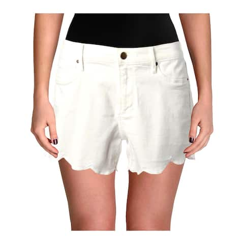 Aqua Womens Denim Shorts Scalloped Hem Five Pocket