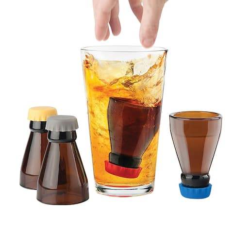 Final Touch Bomb Shots Shot Glasses - Set of 4 Bottle Shot Bombers with Silicone Safety Caps