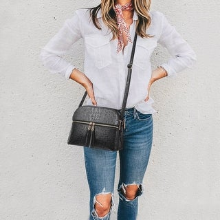 Link to Dasein Ostrich Embossed Leather Crossbody Messenger Bag Similar Items in Shop By Style
