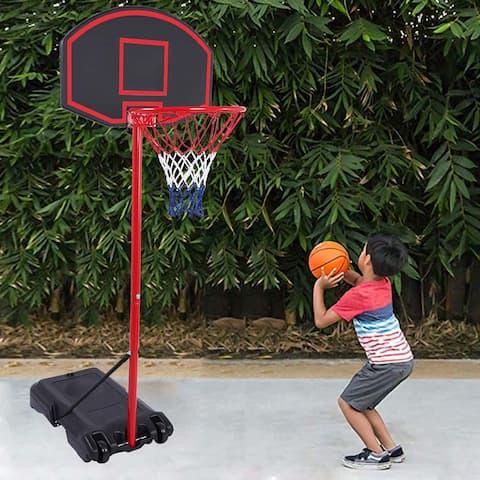 Portable Removable Adjustable Teenager Basketball Rack Black & Red - 8' x 10'