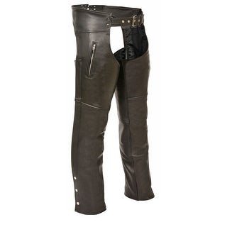 Mens Leather Chaps with Zippered Thigh Pockets (More options available)