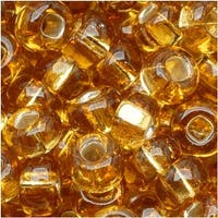 Czech Seed Beads 6/0 Amber Light Topaz Silver Lined (1 oz)