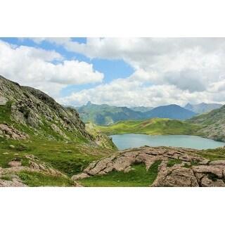 Lake, Mountain And Rocks Photograph Art Print