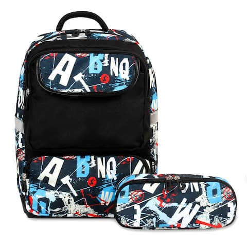 J World New York Sprouts Kids' Backpack with Free Pencil Case Included - Graffiti