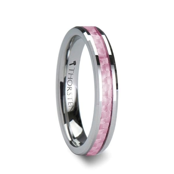 PINK Tungsten Carbide Wedding Band with Pink Carbon Fiber Inlay and Polished Beveled Edges Comfort Fit Lightweight Durab