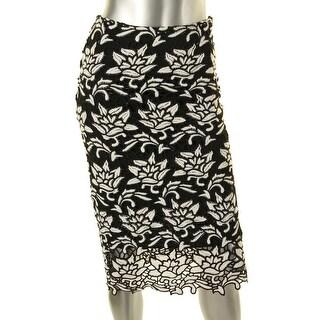 JOA Womens Los Angeles Crochet Open Stitch Pencil Skirt