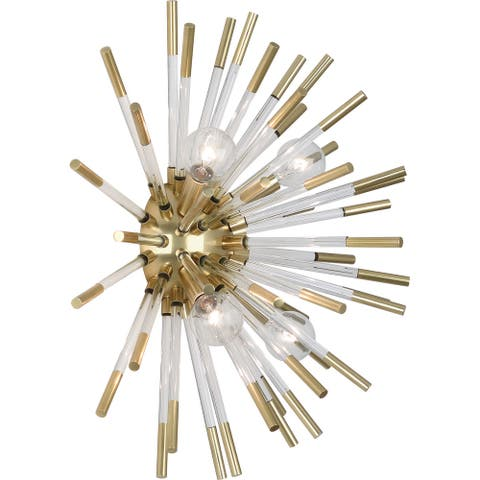 Robert Abbey 167 Four Light Wall Sconce Andromeda Modern Brass w/ Clear Acrylic Rods - One Size