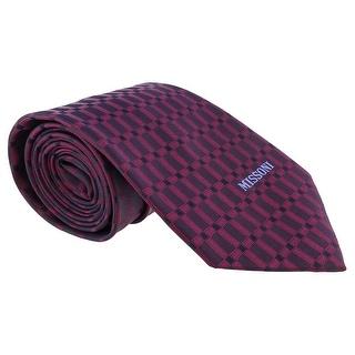 Missoni Grid Magenta Woven 100% Silk Tie