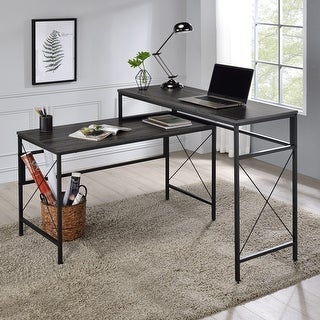 Furniture of America Arts Modern Grey L-shaped Desk with USB Ports