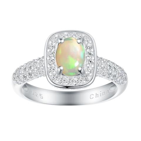Oval-Cut Birthstone Gemstone Halo Engagement Ring, Sterling Silver