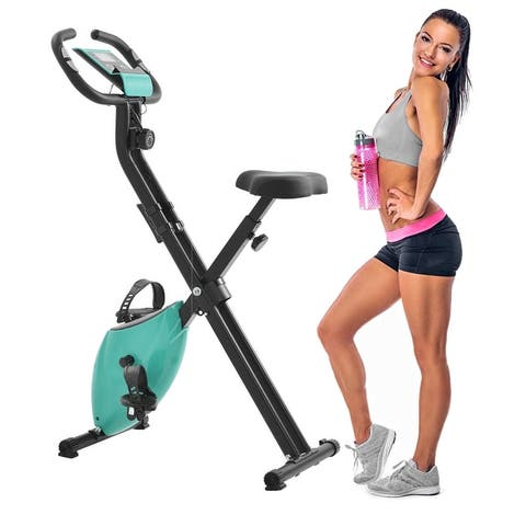 Folding Exercise Bike with 8-Level Adjustable Resistance LCD Monitor