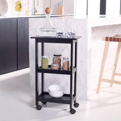"""SAFAVIEH Bevin 2-Shelf Kitchen Bar Cart with Wheels - 20"""" W x 12"""" L x 33"""" H"""