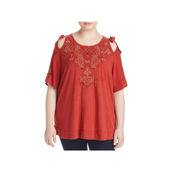 Lucky Brand Womens Plus T-Shirt Embroidered Laser cut