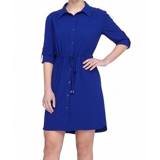 Tahari by ASL NEW Blue Womens Size 10 Crepe Button-Front Shirt Dress