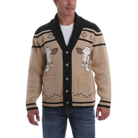 Cinch Western Sweater Mens Long Sleeve Cow Cardigan Button - Khaki - L