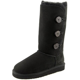Ugg Australia Bailey Button Triplet Youth Round Toe Suede Black Winter Boot