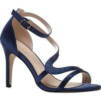Pink Paradox London Women's Mckayla Ankle Strap Sandal Navy Satin
