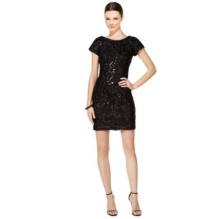 SD Collection Sandra Darren Petite Scoop Back Sequined Sheath Dress - 14P